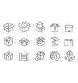 box line icons cardboard boxes mailing package vector image