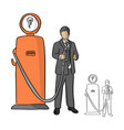 businessman holding fuel pump of idea vector image