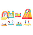 children jumping on trampolines cartoon boys vector image vector image
