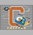 chopper cartoon with little pilot vector image vector image
