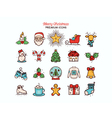 christmas flat thin line icon collection vector image vector image