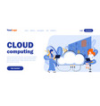 cloud computing landing page template vector image
