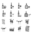 Cocktail Icons Black vector image
