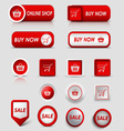 Collection web red buttons and pointers for vector image