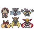 colorful set music theme emblems vector image vector image