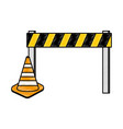 construction fence with cone vector image