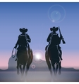 Cowboys silhouettes galloping across the prairie vector image vector image