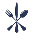 crossed spoon with fork and knife isolated vector image vector image