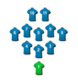 football formation in blue design vector image vector image