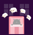 gray cat sleeping jumping sheeps cant sleep going vector image vector image