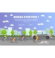 Group of cycle riders on bikes Street with vector image vector image