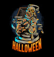 halloween egypt mummy comes out coffin vector image