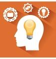 human head and big idea design vector image vector image