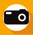 icon camera on white circle with a long shadow vector image vector image