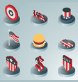 independence day color isometric icons vector image vector image