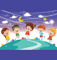kids sitting on cloud vector image