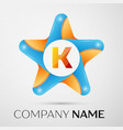 letter k logo symbol in the colorful star on grey vector image