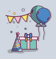 line gift with balloons and hat birthday vector image vector image