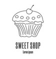 line style icon a cupcake sweet shop bakery vector image