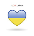 love ukrain symbol flag heart glossy icon vector image vector image