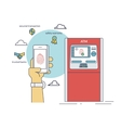 Mobile access to ATM via smartphone using vector image vector image