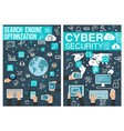 online cyber security and seo posters vector image vector image