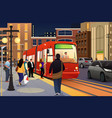 people riding and boarding a street car vector image vector image