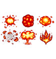 pixel art explosions game icons set comic boom vector image vector image