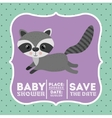 raccoon animal baby shower card icon vector image vector image
