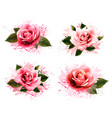 set greeting cards with pink roses vector image vector image