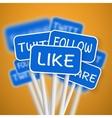 set social media network road signs include vector image vector image
