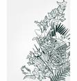 sketch flower background card frame monochrome vector image