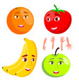 smiling orange tomato apple banana healthy vector image