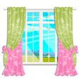 the window overlooking sunny meadow green vector image vector image