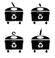trash cans recycle in black vector image vector image