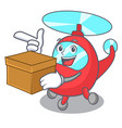with box helicopter character cartoon style vector image