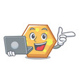 with laptop hexagon character cartoon style vector image