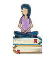 young woman working with books vector image vector image