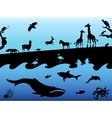 Concept background with animal silhouettes Black vector image