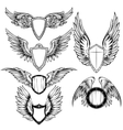 Wings And Shield Heraldic Elements Set vector image