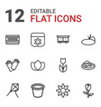 12 flower icons vector image vector image