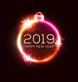 2019 new year concept with colorful neon lights vector image vector image