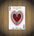 Ace hearts poker card wood background vector image