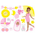 African American Pregnant Woman Set vector image vector image