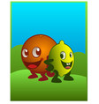 an orange an lemon characters smiling in cartoon vector image vector image