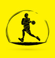 basketball player running graphic vector image vector image