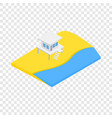 beach with lifeguard tower isometric icon vector image vector image
