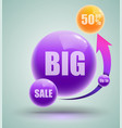 big sale up to fifty percent banner vector image vector image