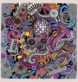 cartoon doodles disco music vector image vector image