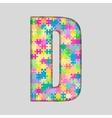 Color Piece Puzzle Jigsaw Letter - D vector image vector image